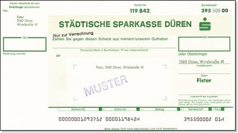 Verrechnungsscheck postbank